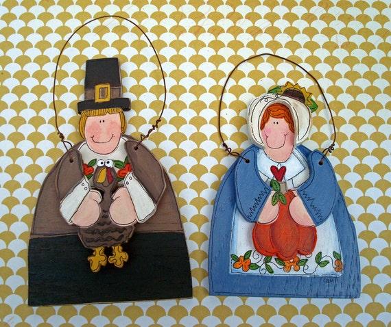 Thanksgiving Ornaments Hand Painted Pilgrims-Last Set