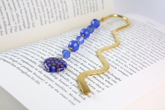 Cobalt Blue Bookmark with Millefiori Heart Charm - Back to School