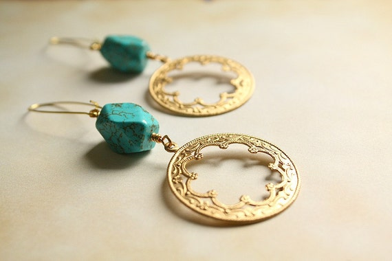 Moroccan Scalloped Hoop Earrings Faceted Turquoise-Exotic Bohemian
