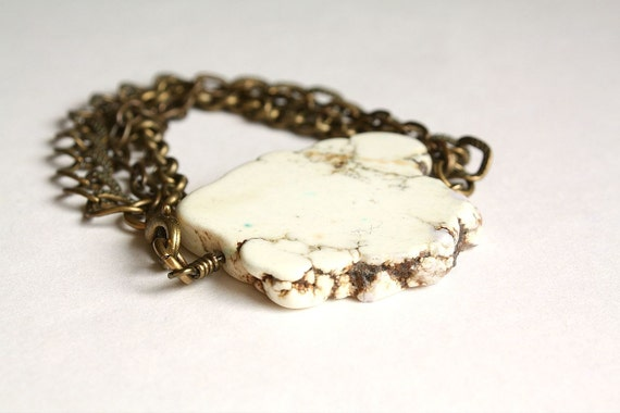 Bracelet - White Turquoise Slice & Antique Brass Chain