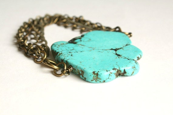 Turquoise Slice & Antique Brass Chain Bracelet