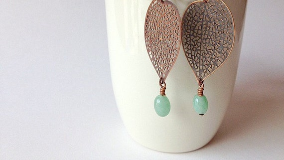 Copper Leaf Filigree Drop Earrings with Young Jade