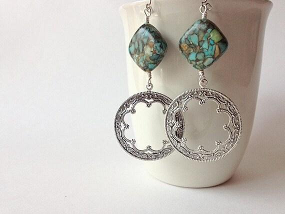 Exotic Earrings - Mosaic Turquoise  & Silver Ethnic Hoop