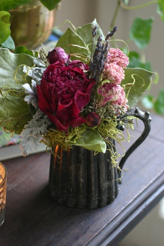 VICTORIAN FRENCH farmhouse arrangement in vintage silverplate creamer with dried peonies, dried French lavender and dried antique roses