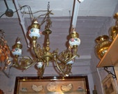Antique French bronze and porcelain 5-arm chandelier