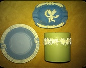 Lot, Set of three jasperware wedgwood in style pieces, great addition for existed collection