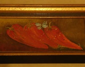 three red peppers, oil painting on canvas, signed from 1968