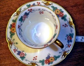 limoges teacup and saucer, beautifull design, early 20 th century