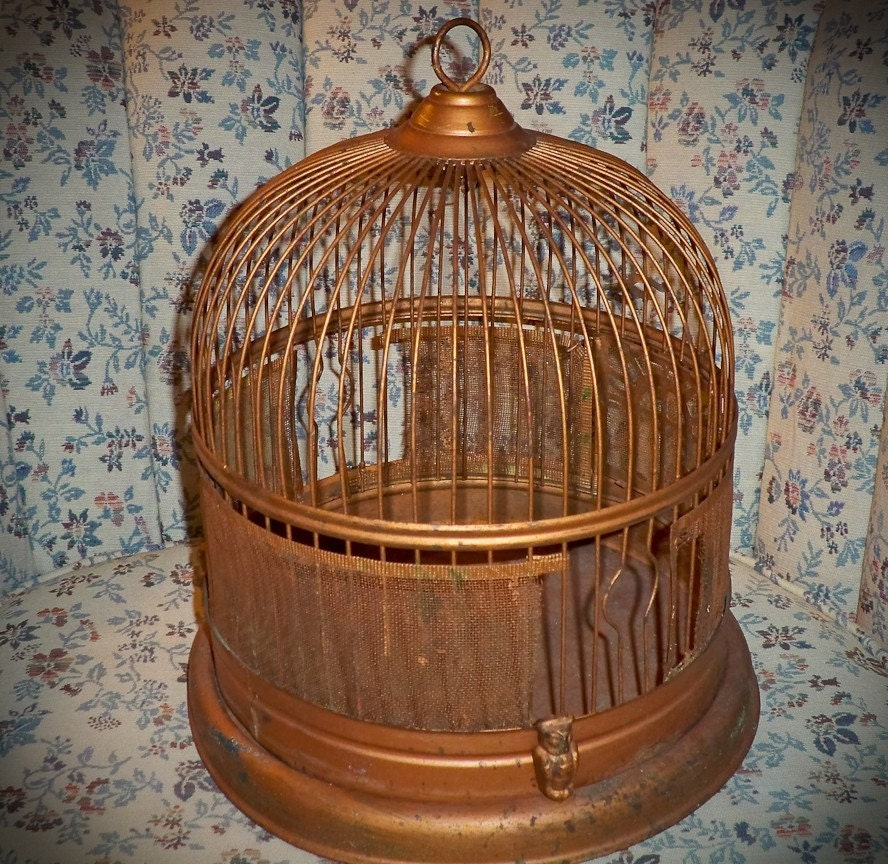 Decorative Vintage Bird Cage Copper Color by antiqueboutiquestore