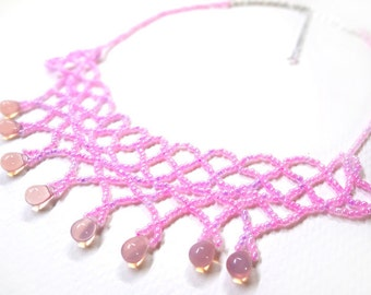 Pale Pink Necklace - Lacey - Pink Necklace - 17 to 20 Inches