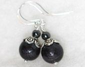 Black and Silver Earrings - Sterling Silver Ear Wires - Kidalia - Handmade Black Earrings - Bohemian Jewelry - Polymer Clay Earrings