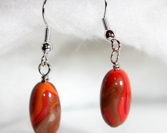 Polymer Clay Earrings - Oval Bead Earrings - Minimal Red Earrings - Fire Jewelry - Bohemian Fashion