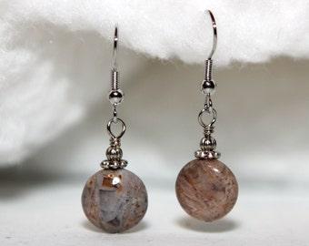 Bamboo Stone Earrings - Round Gemstone Earrings - Gemstone Coin Beads - Hypoallergenic Sensitive Earrings