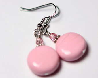ON SALE Bubblegum Pink Dangle Earrings - Pink Polymer Clay Raspberry Czech Glass - Eclectic - Women - Teen - Wedding