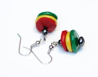 Rasta Earrings - Dangle Earrings - Red Yellow Green - Rastafarian Polymer Clay Hematite Earrings - Casual Jewelry - Spring Boho Jewelry