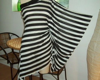 One Shoulder Kimono Sleeve Asymerical Black and White Stripe Tunic