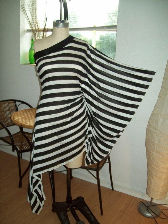 One Shoulder Kimono Sleeve Asymerical Black and White Stripe Tunic