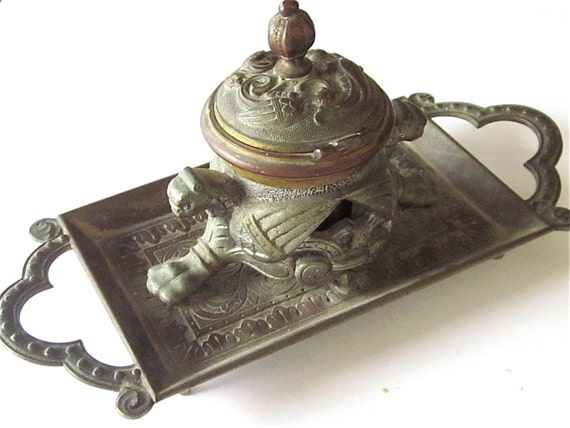 RESERVED......Old Gothic Figural Inkstand