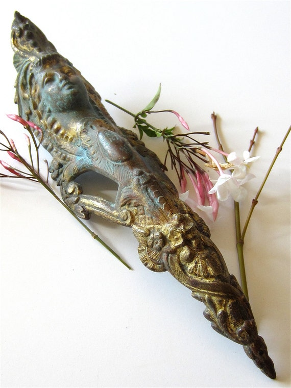 Old French Cast Brass or Bronze Ornate Figural Pediment Furniture Mount with Natural Verdigris