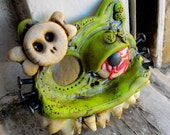Creepy tribute to a very famous cat. Hello... Monster Kitty. Large green lime super crazy brooch