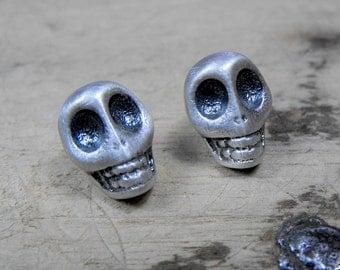 Sterling silver mini sugar skull studs. Handmade in solid silver