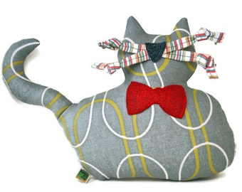 "Extra Durable Dog Toy - Large Grey Fat Cat ""DOUBLE FABRIC LAYER Construction"""