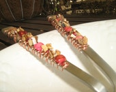 Beaded serving fork and spoon