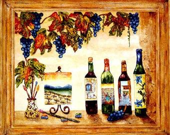 Wine Art Original Painting of Wine Bottles and Grapes by artist Linda Paul
