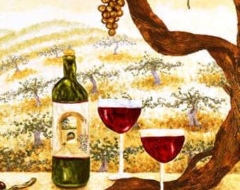 Kitchen Tile Backsplash Accent -  Decorative  Wall Tiles of Wine Vineyard