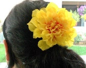 Mellow Yellow Marigold Flower and a Bit of Orange Flora Alligator Clip Ready for Shipping