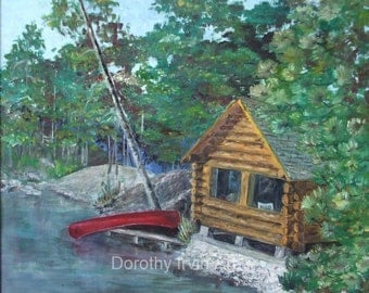 Rustic Cabin with Red Canoe at Anthony Lakes in Eastern Oregon Art Print