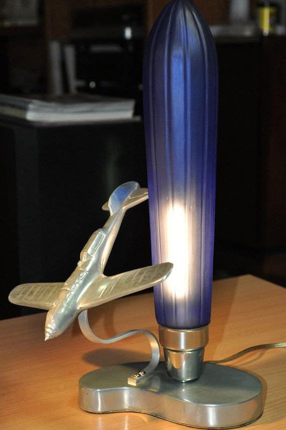 Flying Tiger Ace Deco Table Lamp Cobalt Blue Sarsaparilla