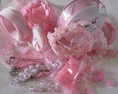 Everything is PINK  Destash Ribbons  Buttons Beads