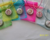 free ship-6 FANCY NANCY party favors  bottlecap necklaces-gift bags
