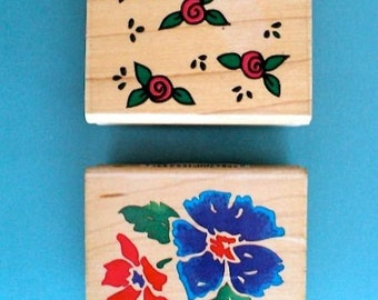 Scattered Roses and Wonderful Wildflowers Wood Mounted Rubber Stamps - Set of 2