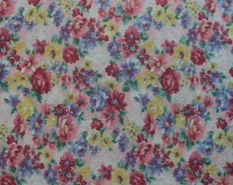 Vintage - Pretty Pink, Yellow and Purple Floral Double Knit Polyester Fabric - 2 yards long x 54 inches wide