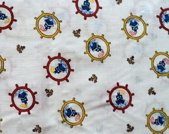 Anchors Away - Sailboat and Anchor Pattern Fabric - 4 Large Pieces