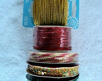 Christmas Cord - Metallic Green, Red and Gold - 42 yards