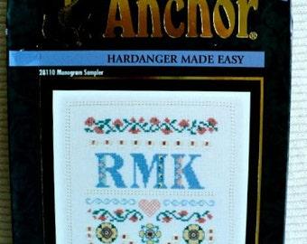 """Monogram Sampler - Hardanger Kit - 7"""" x 7"""""""