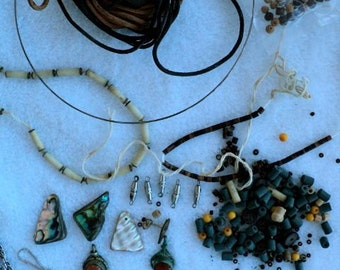 Vintage - Assortment of Jewelry Beads, Stones and Accessories