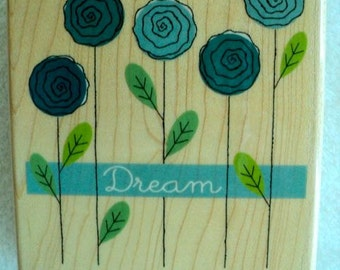 "Dream Wooden Rubber Stamps - 3-1/2"" x 4"" - Challis & Roos"