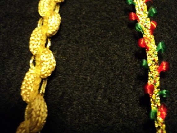 Gold Fabric Trim and Gold with Green and Red Fabric Trim - 5-3/4 yards