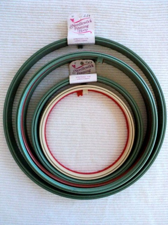 Plastic Needlework Framing Hoops - Two Types - Set of 7
