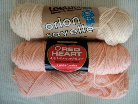 Melon and Sea Coral Acrylic Yarn - LeeWards and Red Heart - 2 skeins plus remnant