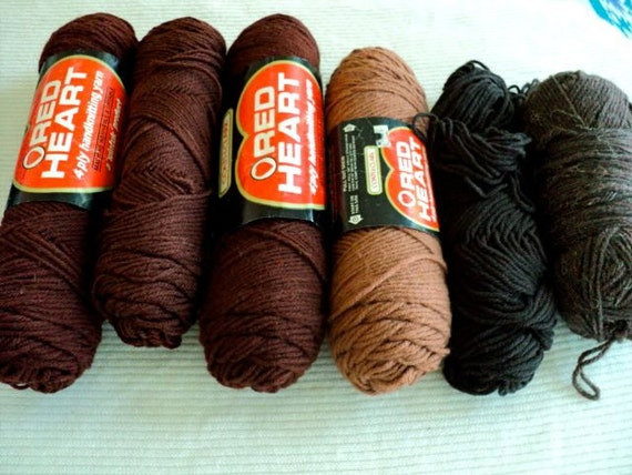Wood Brown, Taupe and Dark Brown Acrylic Yarn - Red Heart