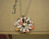 Root Beer Flower Necklace. Sweet and Small. Soda Can Art.