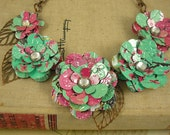 5 Tea Rose Statement Necklace.  Recycled Soda Can Art.  Bold and Beautiful.