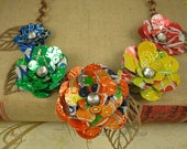 5 Rainbow Rose Statement Necklace.   Bold and Beautiful. Recycled Soda Can Art