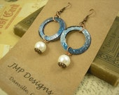 Small Circle Earrings with Pearl.  DOUBLE-sided.  Recycled Soda Can Art.  Monster Blue