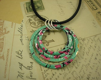 Stacked Hoop Circle Necklace.  DOUBLE-sided.  Recycled Soda Can Art. AZ Tea